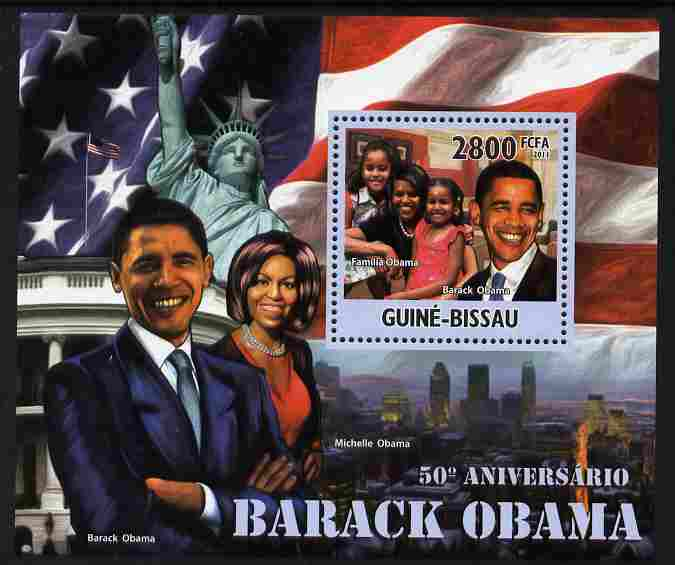Guinea - Bissau 2011 50th Birth Anniversary of Barack Obama perf s/sheet unmounted mint