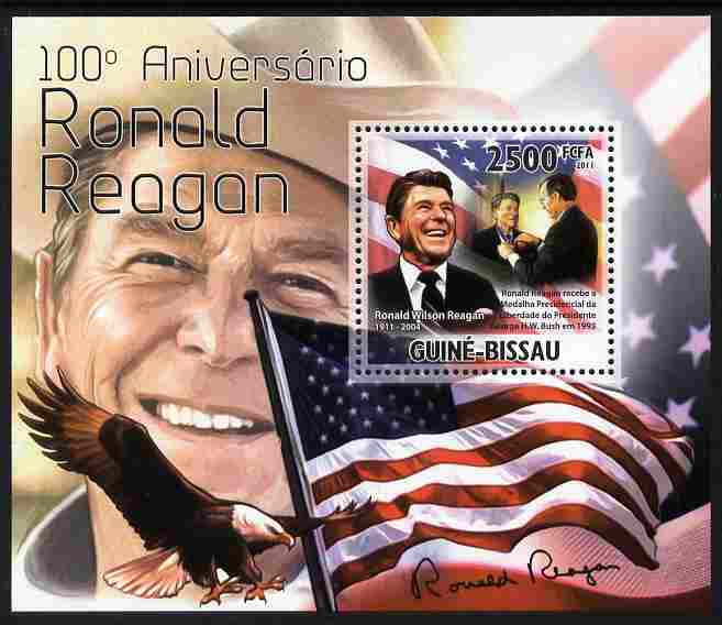 Guinea - Bissau 2011 100th Birth Anniversary of Ronald Reagan perf s/sheet unmounted mint