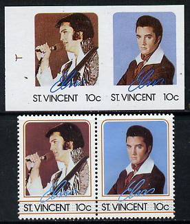 St Vincent 1985 Elvis Presley (Leaders of the World) 10c imperf se-tenant reprint proof pair in 4 colours only (orange & silver omitted) plus normal perf pair (as SG 919a)