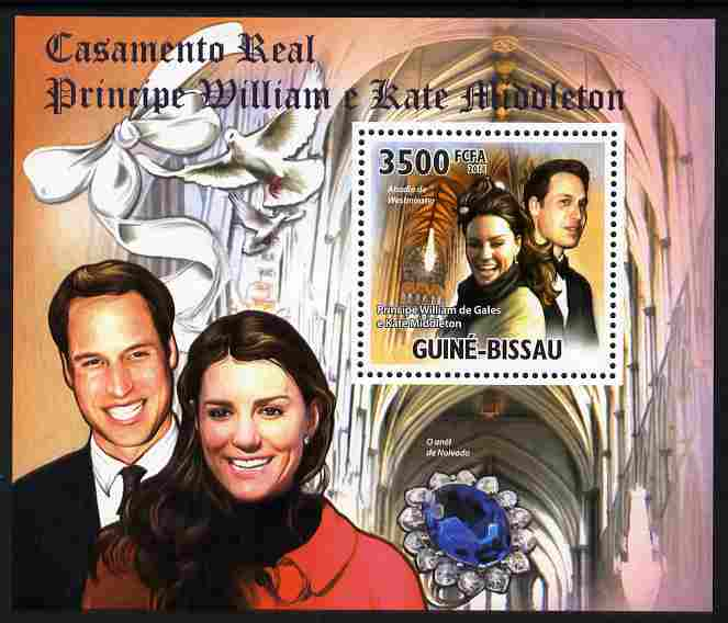Guinea - Bissau 2011 Royal Wedding - William & Kate #2 perf s/sheet unmounted mint