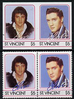St Vincent 1985 Elvis Presley (Leaders of the World) $5 imperf se-tenant reprint proof pair in 4 colours only (deep blue & silver omitted) plus normal perf pair unmounted mint, as SG 925a