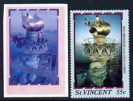 St Vincent 1986 Statue of Liberty Centenary 55c die proof in red and blue only on plastic (Cromalin) card ex archives complete with issued perf stamp as SG 1037