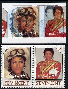 St Vincent 1985 Michael Jackson (Leaders of the World) $5 imperf se-tenant proof pair in 4 colours only - the red & yellow shifted 7mm to the right (red-brown & silver omitted) with normal perf pair (as SG 946a) unmounted mint