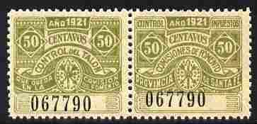 Argentine Republic - Santa Fe Province 1921 Revenue 50c olive se-tenant pair unmounted mint