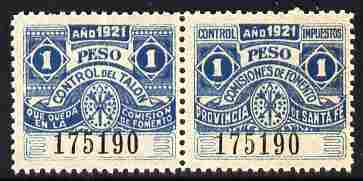 Argentine Republic - Santa Fe Province 1921 Revenue 1 Peso blue se-tenant pair unmounted mint