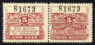 Argentine Republic - Santa Fe Province 1916 Revenue 5 Peso maroon se-tenant pair unmounted mint