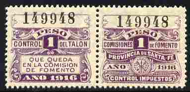 Argentine Republic - Santa Fe Province 1916 Revenue 1 Peso purple se-tenant pair unmounted mint