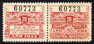Argentine Republic - Santa Fe Province 1914 Revenue 20c red se-tenant pair unmounted mint
