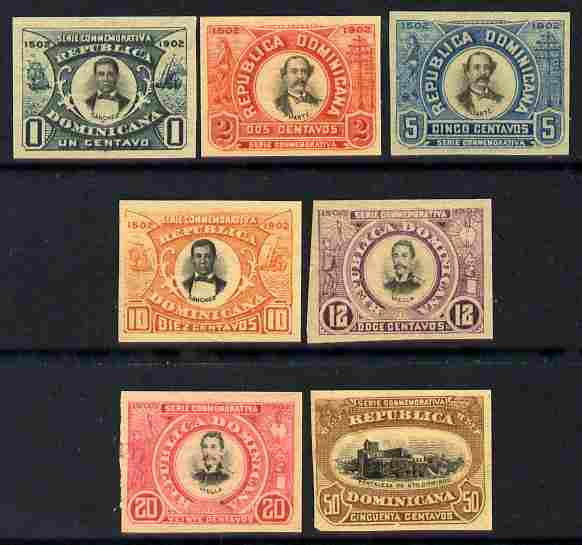 Dominican Republic 1902 400th Anniversary of Santo Domingo set of 7 imperforate (unissued) unmounted mint but gum slightly disturbed on some, as SG 125-31