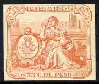 Cinderella - Spain 1894 label in orange imperforate on gummed paper