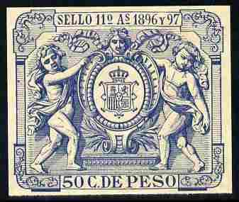 Cinderella - Spain 1896 label in blue imperforate on gummed paper