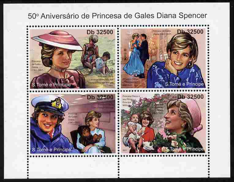 St Thomas & Prince Islands 2011 50th Birth Anniversary of Princess Diana perf sheetlet containing 4 values unmounted mint