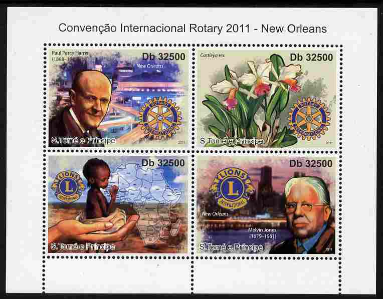 St Thomas & Prince Islands 2011 Rotary International Convention perf sheetlet containing 4 values unmounted mint