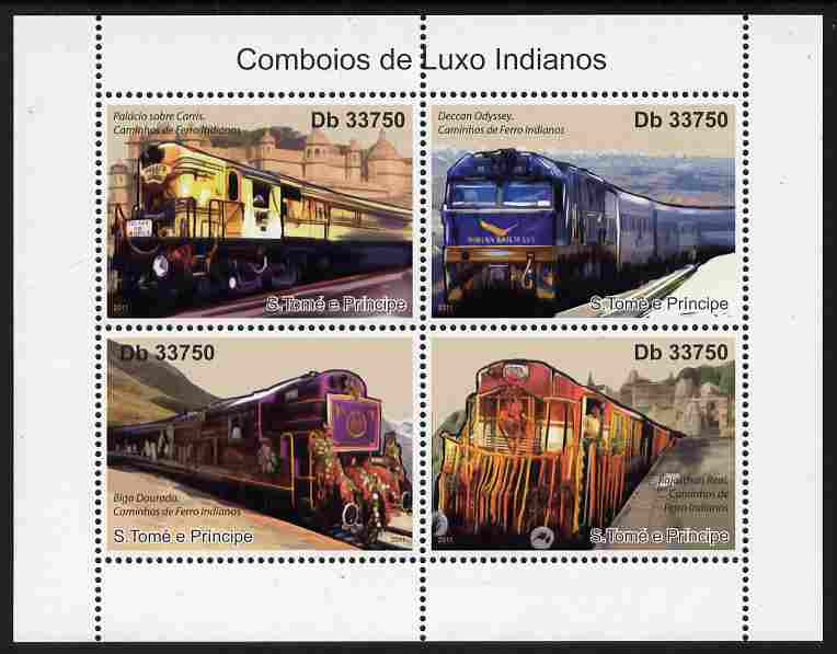 St Thomas & Prince Islands 2011 Indian Luxury Trains perf sheetlet containing 4 values unmounted mint