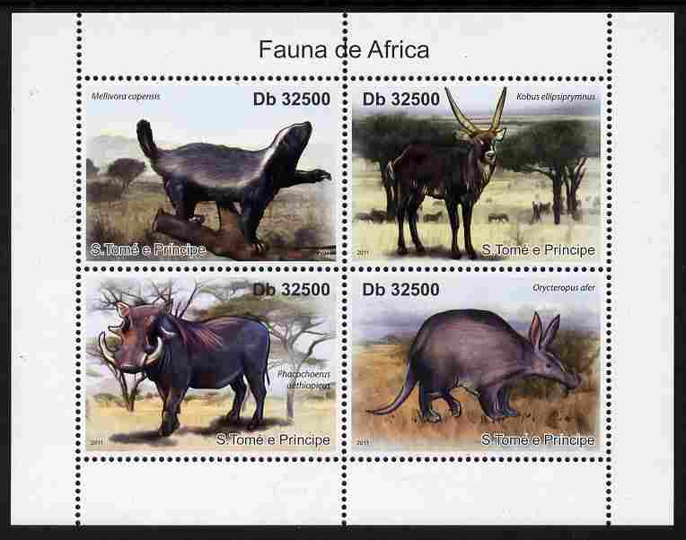 St Thomas & Prince Islands 2011 Animals of Africa perf sheetlet containing 4 values unmounted mint