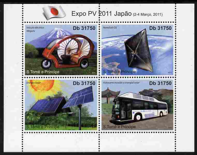St Thomas & Prince Islands 2011 EXPO - Solar Power perf sheetlet containing 4 values unmounted mint, stamps on environment, stamps on energy, stamps on cars, stamps on buses, stamps on transport