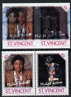 St Vincent 1985 Michael Jackson (Leaders of the World) 60c imperf se-tenant proof pair in 5 colours only - the blue & black shifted 7mm to the left (silver omitted) with normal perf pair (as SG 940a) unmounted mint