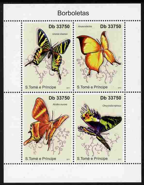 St Thomas & Prince Islands 2011 Butterflies perf sheetlet containing 4 values unmounted mint