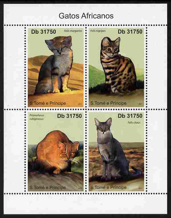 St Thomas & Prince Islands 2011 African Domestic Cats perf sheetlet containing 4 values unmounted mint