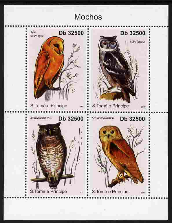 St Thomas & Prince Islands 2011 Owls perf sheetlet containing 4 values unmounted mint