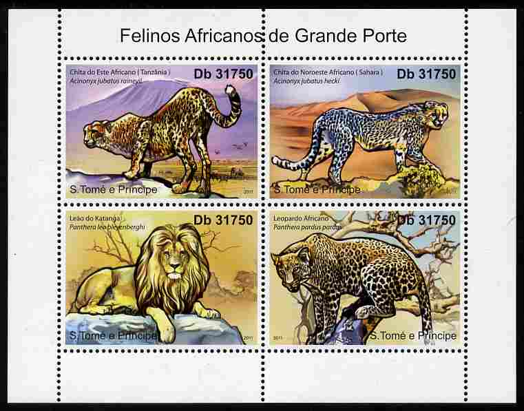 St Thomas & Prince Islands 2011 African Big Cats perf sheetlet containing 4 values unmounted mint