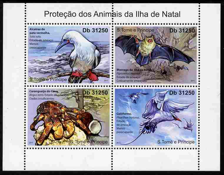 St Thomas & Prince Islands 2011 Animal Protection on Christmas Island perf sheetlet containing 4 values unmounted mint