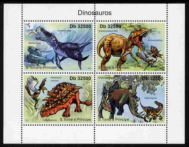St Thomas & Prince Islands 2011 Dinosaurs perf sheetlet containing 4 values unmounted mint