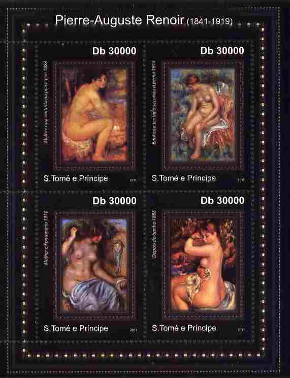 St Thomas & Prince Islands 2011 Paintings by Renoir perf sheetlet containing 4 values unmounted mint