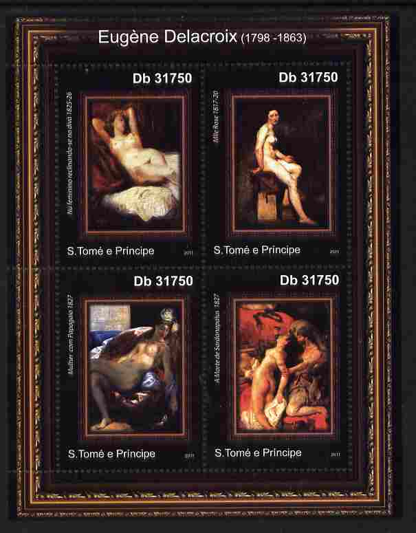 St Thomas & Prince Islands 2011 Paintings by Delacroix perf sheetlet containing 4 values unmounted mint