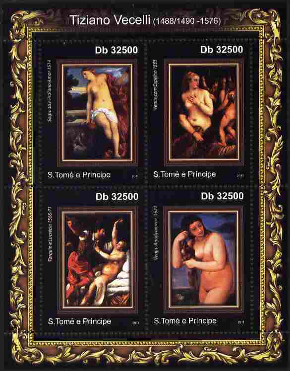 St Thomas & Prince Islands 2011 Paintings by Tiziano perf sheetlet containing 4 values unmounted mint