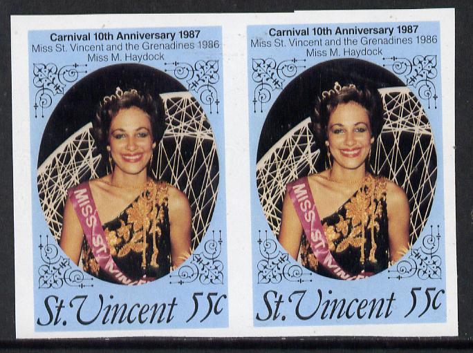St Vincent 1987 10th Anniversary of Carnival 55c (Beauty Queen) unmounted mint imperf pair, SG 1068var