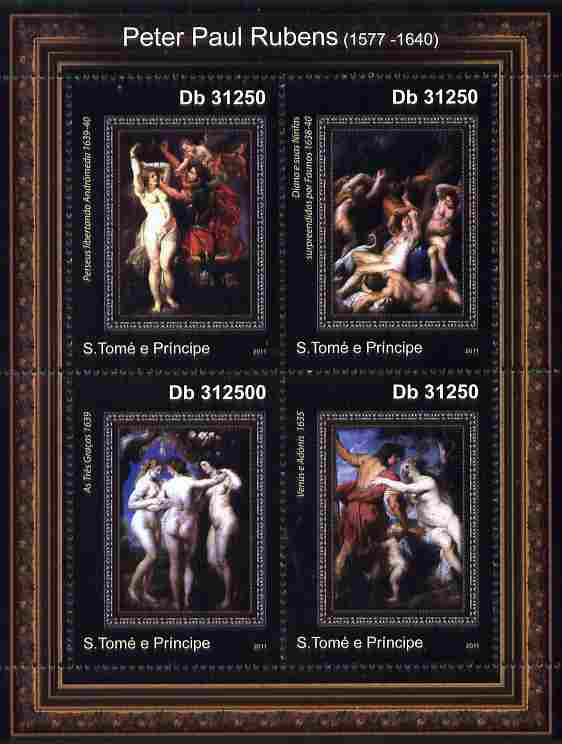 St Thomas & Prince Islands 2011 Paintings by Rubens perf sheetlet containing 4 values unmounted mint