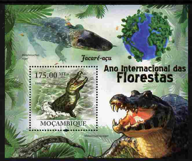 Mozambique 2011 International Year of Forests - Crocodiles perf s/sheet unmounted mint