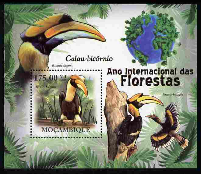 Mozambique 2011 International Year of Forests - Great Hornbill perf s/sheet unmounted mint