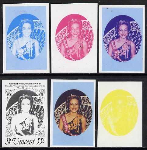 St Vincent 1987 10th Anniversary of Carnival 55c (Beauty Queen) unmounted mint set of 6 progressive proofs comprising the 4 individual colours plus 2 and 3-colour composi...