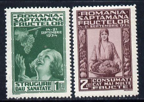 Rumania 1934 Fruit Exhibition set of 2 unmounted mint, SG 1299-1300, Mi 478-79