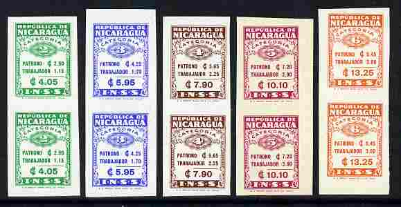Nicaragua - INSS set of 5 in unmounted mint imperf vert pairs, scarce thus