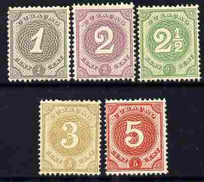 Netherlands - Curacao 1889 Numeral set of 5 (1c to 5c) fine mounted mint with fresh colours, SG 37-41