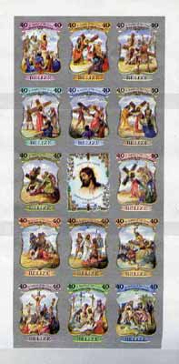 Belize 1988 Easter - Stations of the Cross sheetlet of 14 plus label IMPERF unmounted mint, as SG 1024a