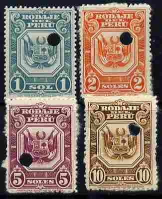 Peru 1940s? 4 Essays 1sol to 10sol with Waterlow & Sons security punch holes, (inscr  Rodaje Del Peru) fair to fine with sime gum (4 proofs)