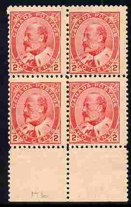 Canada 1903 KE7 2c scarlet fine mint marg block of 4, 2 stamps unmounted SG 176/7