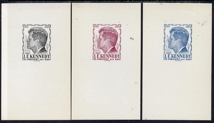 Austria 1963 Kennedy set of 3 undenominated proof cards in black, blue & maroon, produced by Wimmer but never issued (only 100 sets produced)