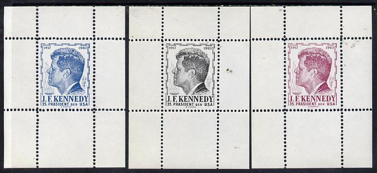 Austria 1963 Kennedy set of 3 undenominated perforated essay sheetlets in black, blue & maroon, produced by Wimmer but never issued, unmounted mint