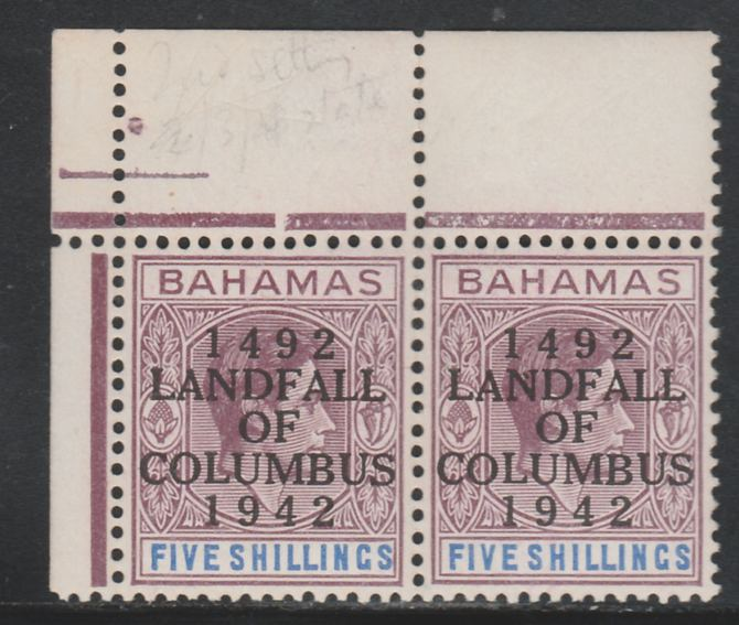 Bahamas 1942 KG6 Landfall of Columbus opt on 5s lilac & blue NW corner pair with dot in N variety (R1/2) unmounted mint SG 174var