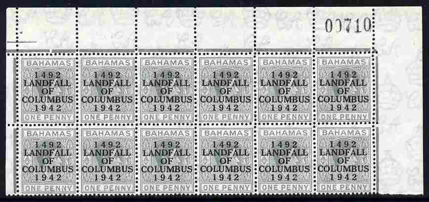 Bahamas 1942 KG6 Landfall of Columbus 1d pale slate upper two rows from right pane with distorted Y variety (R1/6) plus flaw between A & L on R2/3 etc unmounted mint SG 1...