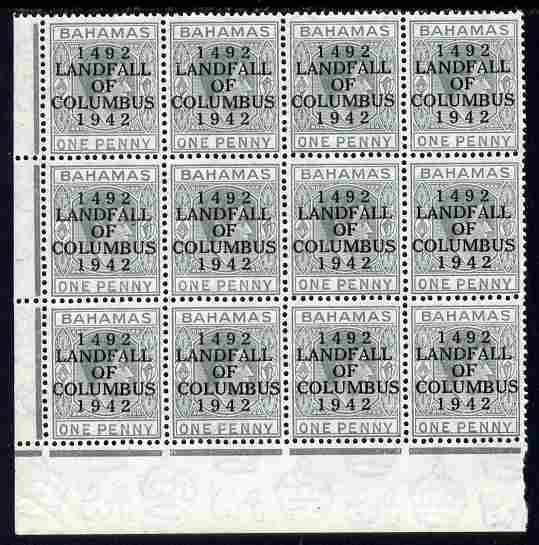 Bahamas 1942 KG6 Landfall of Columbus 1d pale slate SW corner block of 12 from right pane with short N variety (R8/4) & Break in Oval on R10/4 plus overprint varieties un...