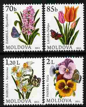 Moldova 2011 Flowers & Butterflies perf set of 4 unmounted mint