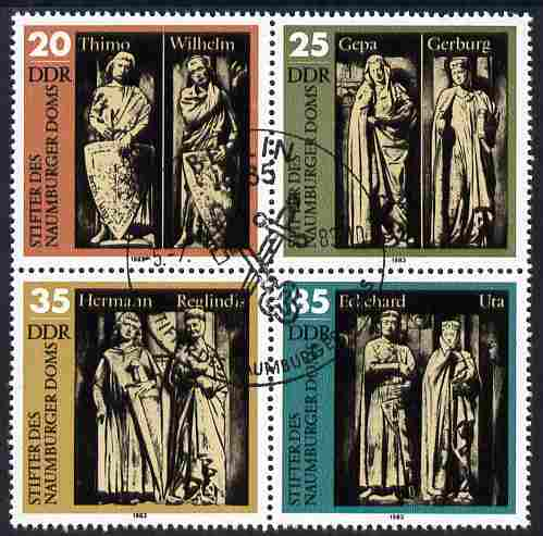 Germany - East 1983 Founders of Naumberg Cathedral set of 4 in se-tenant block fine used, SG E2525a