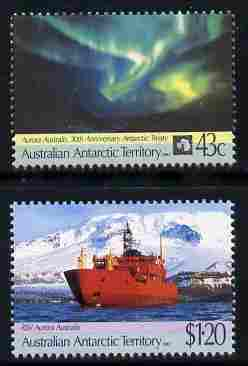 Australian Antarctic Territory 1991 30th Anniversary of Antarctic Treaty set of 2 unmounted mint SG 88-9, stamps on polar, stamps on ships, stamps on weather