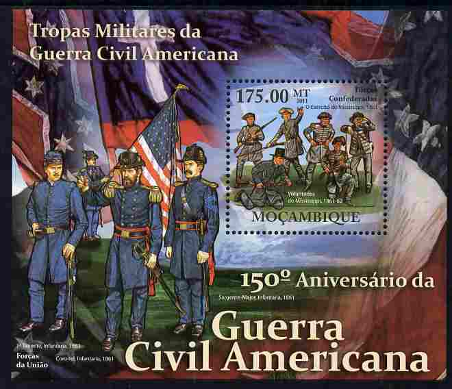 Mozambique 2011 150th Anniversary of American Civil War perf s/sheet unmounted mint